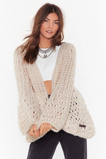 Womens Cream Can't Take Knit Balloon Sleeve Cardigan