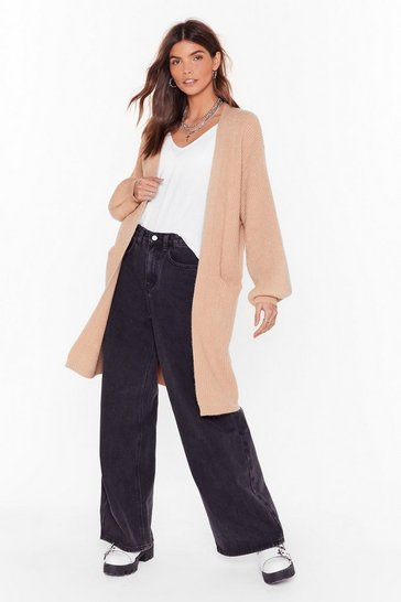 Womens Taupe Anyway You Like Knit Balloon Sleeve Cardigan