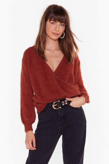 Womens Rust Wrapped Up V-Neck Knit Sweater