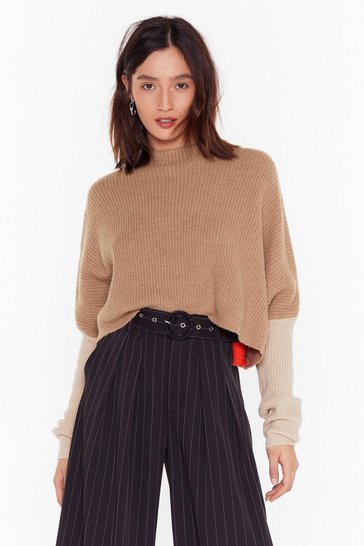 Womens Taupe No Looking Back Colorblock Cropped Sweater
