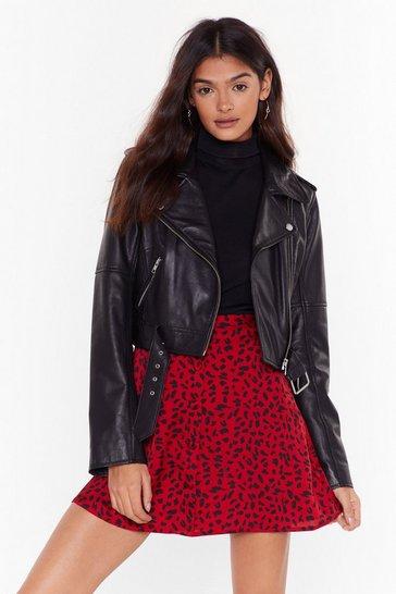 Red Wildest Moments Leopard Mini Skirt