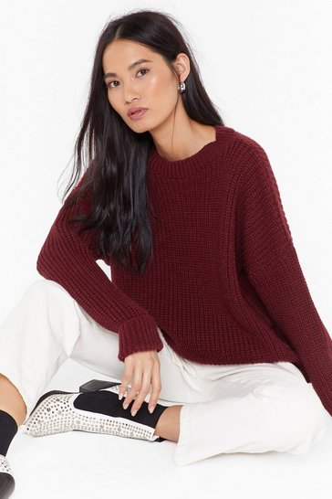 Womens Wine Knit's Not Over Chunky Sweater