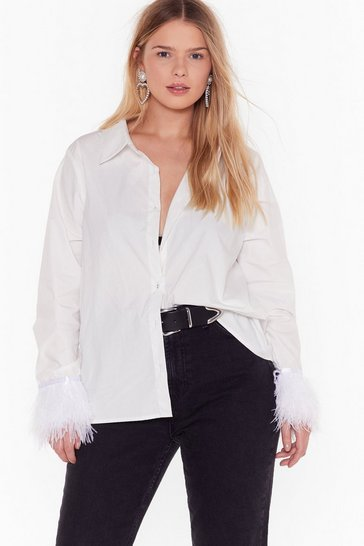 Womens White Feather Cuff Shirt