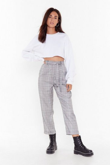 Grey Checkin' Out High-Waisted Tapered Pants