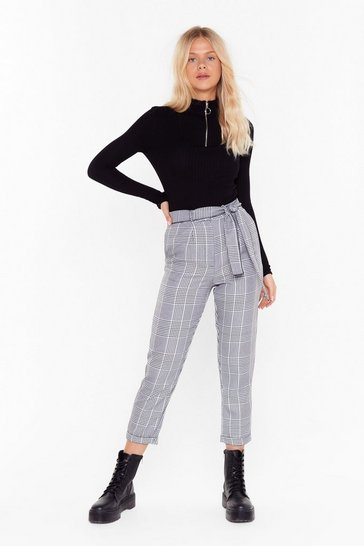 Womens Black Tartan Up the Party High-Waisted Pants