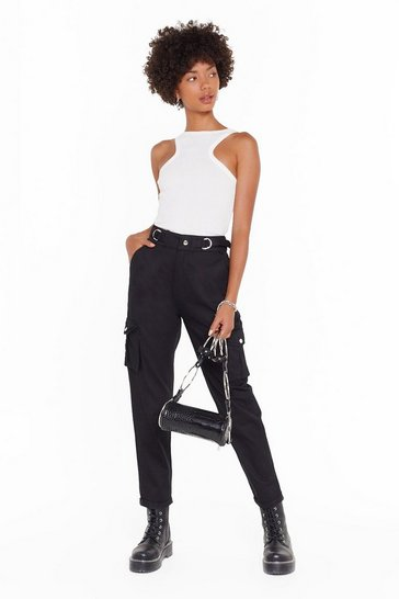 Womens Black Let It Cargo High-Waisted Trousers