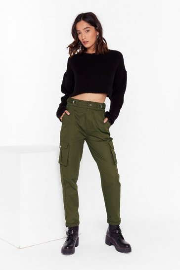 Khaki Let It Cargo High-Waisted Pants
