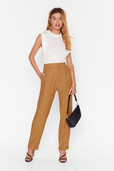 Tan High-Waisted Tapered Pants with Dart Detailing