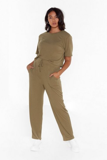 Khaki Hiding from Our Problems Plus Ribbed Cropped Tee and Joggers