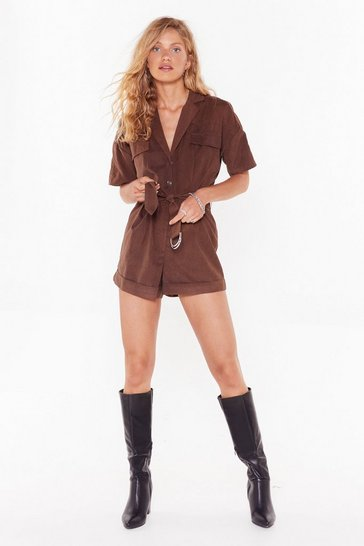 Womens Chocolate Work in Progress Utility Belted Romper