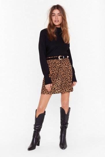 Womens Tan  cord leopard print mini skirt