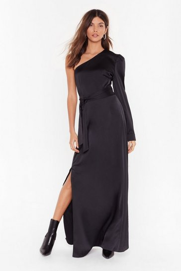 Black You Could Be the One Shoulder Satin Maxi Dress