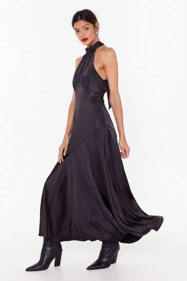 Black Time to Halter the Ending Satin Maxi Dress