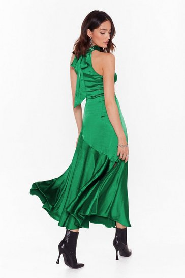 Emerald Time to Halter the Ending Satin Maxi Dress