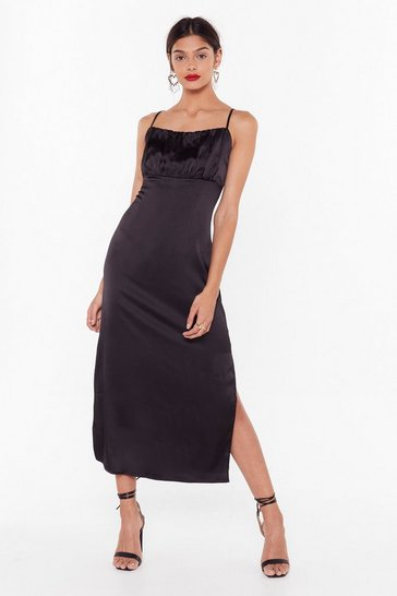 Black Don't Ruche Into Things Satin Maxi Dress