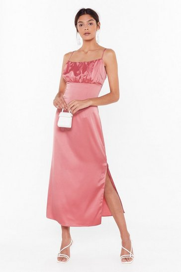 Womens Blush Don't Ruche Into Things Satin Maxi Dress