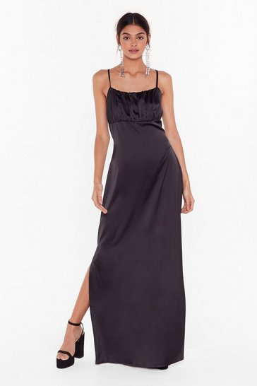 Black Nasty Gal Studio Sleek When We Touch Maxi Dress