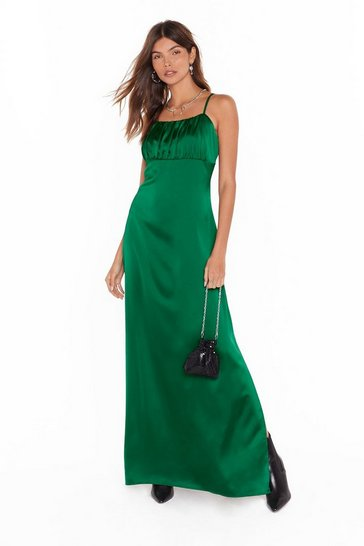 Emerald Nasty Gal Studio Sleek When We Touch Maxi Dress