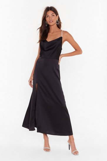 Womens Black Cowl You Mine Diamante Maxi Dress