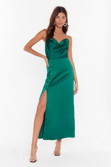Emerald Cowl You Mine Diamante Maxi Dress