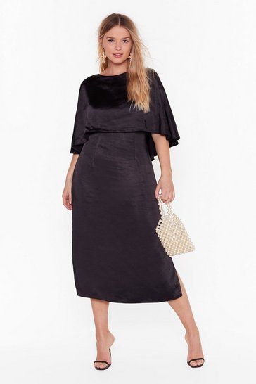 Black Layer Down the Law Plus Midi Dress