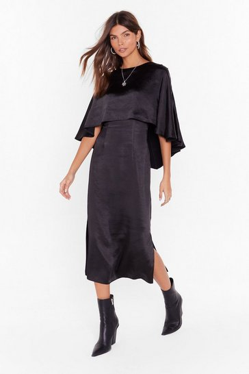 Womens Black Layer Down the Law Satin Midi Dress