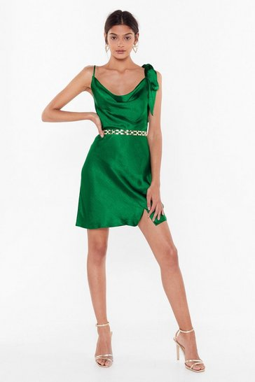 Womens Emerald Don't Tie and Hide It Satin Mini Dress
