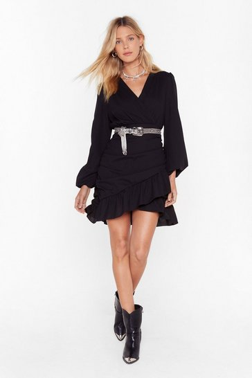 Womens Black V You At the Bar Wrap Mini Dress