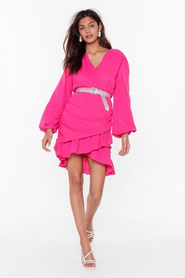 Womens Hot pink V You At the Bar Wrap Mini Dress