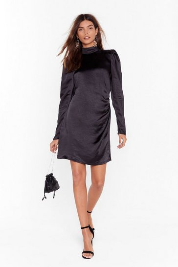 Womens Black Smooth Fast Ruched Mini Dress