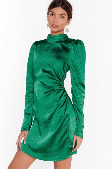 Womens Emerald Smooth Fast Ruched Mini Dress