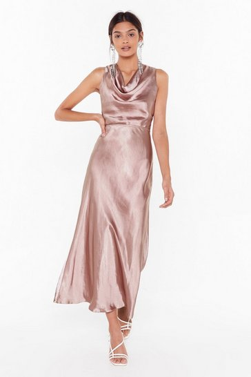 Blush Cut-Out to Party Satin Cowl Dress