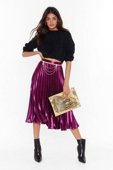 Berry Let's Get Moving Pleated Midi Skirt