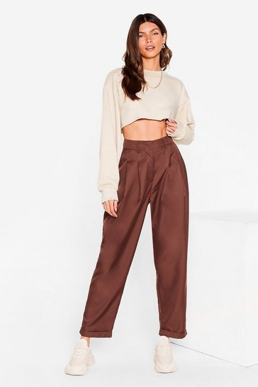 Chocolate High Waisted Tapered Pants