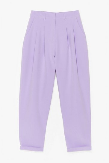 Lilac The Stakes Are High-Waisted Tapered Pants