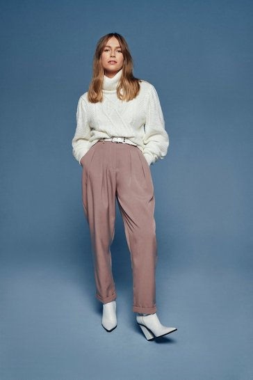 Stone The Stakes Are High-Waisted Tapered Trousers
