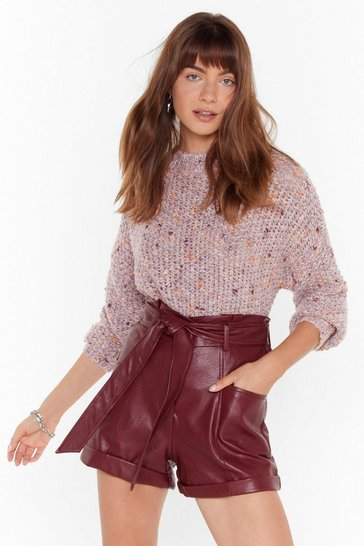 Red Leather It's Right or Wrong Faux Leather Belted Shorts