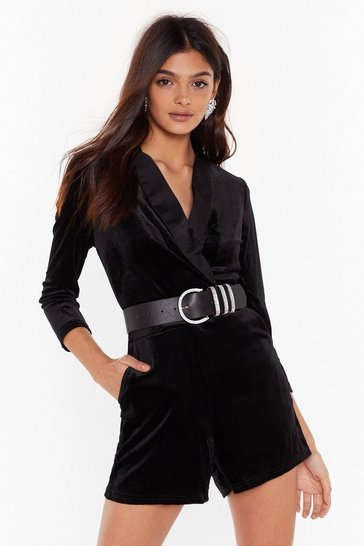 Black What Tux You So Long Velvet Romper