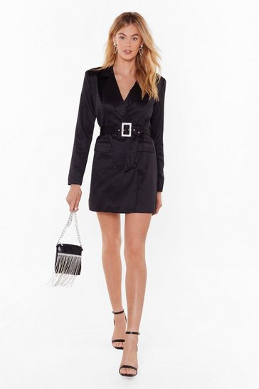 Womens Black Bling the Alarm Satin Blazer Dress