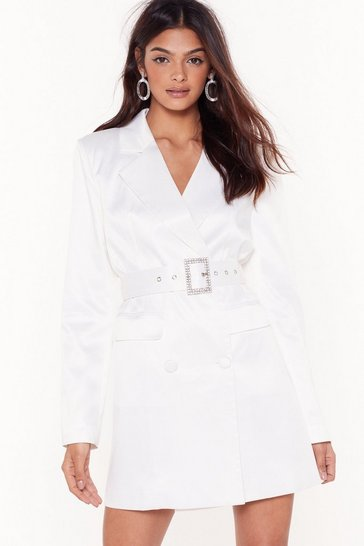 Womens White Bling the Alarm Satin Blazer Dress