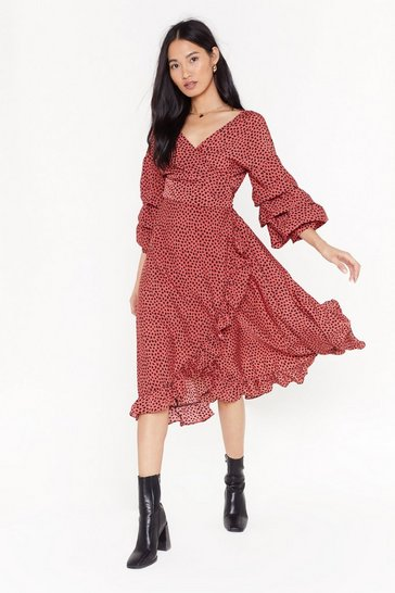 Pink Give It Your Best Spot Ruffle Midi Dress