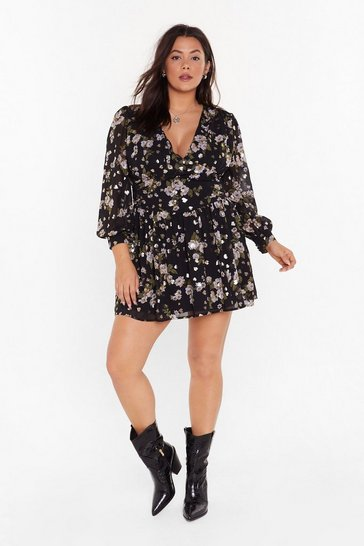 Black Garden of Eden Plus Floral Dress