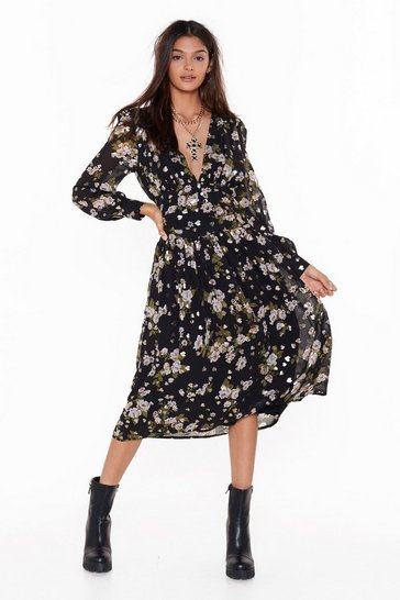 Womens Black What They Don't Grow Floral Midi Dress