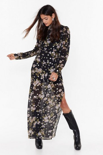 Black Garden of Eden Floral Maxi Dress