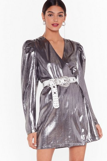 Silver Nasty Gal Studio Time After Time Mini Dress