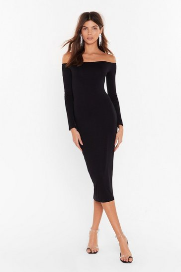 Womens Black Hold Me Tight Off-the-Shoulder Midi Dress