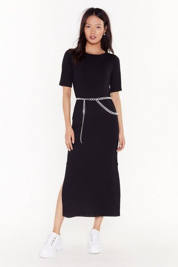 Womens Black Slit Back and Let It Happen Midi Dress