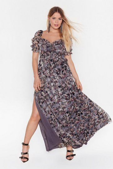 Grey Best of the Bunch Floral Midi Dress