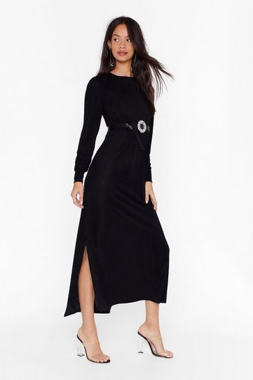 Womens Black Like I Give a Slit Midi Dress