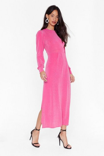 Womens Hot pink Like I Give a Slit Midi Dress